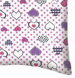 Flannel Pillow Case - Love Hearts