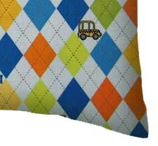 Percale Pillow Case - Argyle Blue Transport