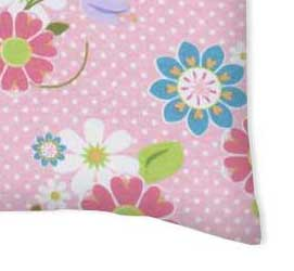 Twin Pillow Case - Floral Pink Dot