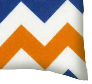 Flannel Pillow Case - Orange & Blue Chevron