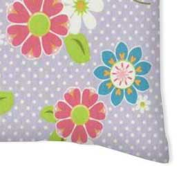 Twin Pillow Case - Floral Lavender Dot