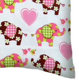 Percale Pillow Case - Elephant Love